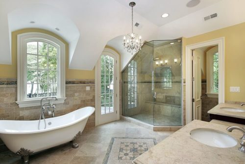 Master bath with old fashioned tub