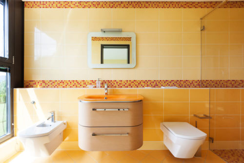 beautiful orange bathroom