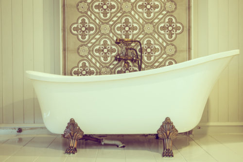 Vintgae Bathtub in toilet room - vintage filter