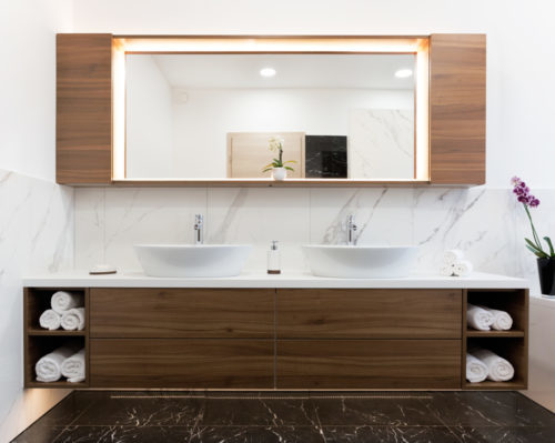 Modern elegant bathroom with two sinks