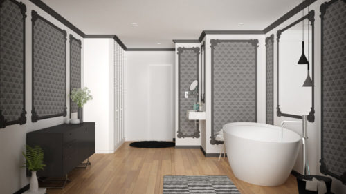 Modern white and gray bathroom in classic room, wall moldings, parquet floor, bathtub with carpet and accessories, minimalist sink and decors, pendant lamps. Interior design concept, 3d illustration