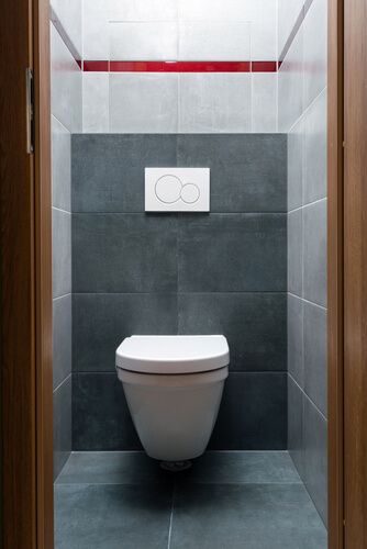 toilet in modern small bathroom