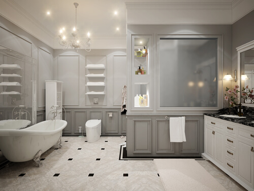 Classic gray bathroom interior design. 3d rendering
