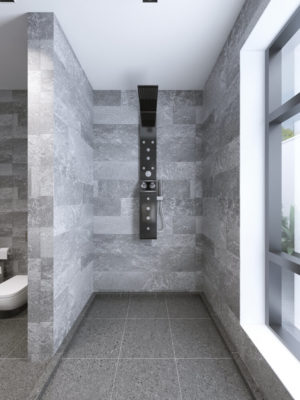 High-tech shower separate from bathroom. 3D render