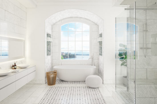 This is an image of an Interior of a contemporary bathroom with washstand and bathtube.