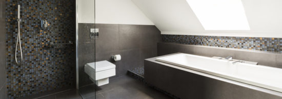 Concrete modern bathroom design with little decorative tiles