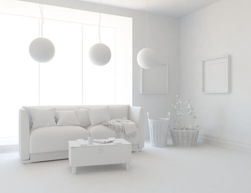 White minimalist living room interior with sofa on a wooden floor, decor on a large wall, white landscape in window. Home nordic interior. 3D illustration