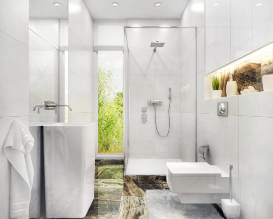 This is an image of a Small bathroom with shower and window