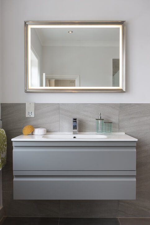 Bathroom Sink and Mirror with Hand towel & Sponge.