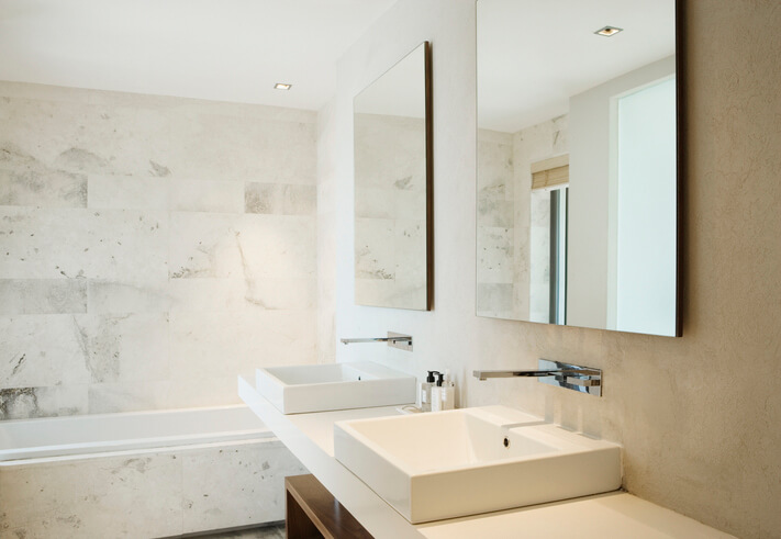 Modern bathroom vanity and bathtub