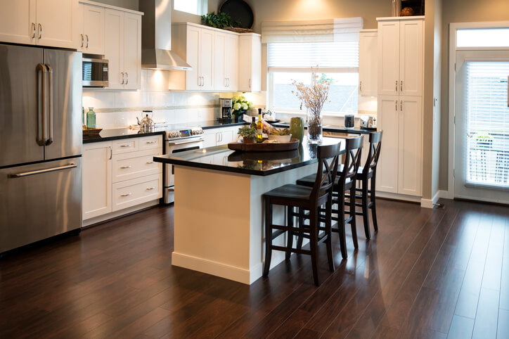 a modern kitchen / modern acoutrements / and classic styling