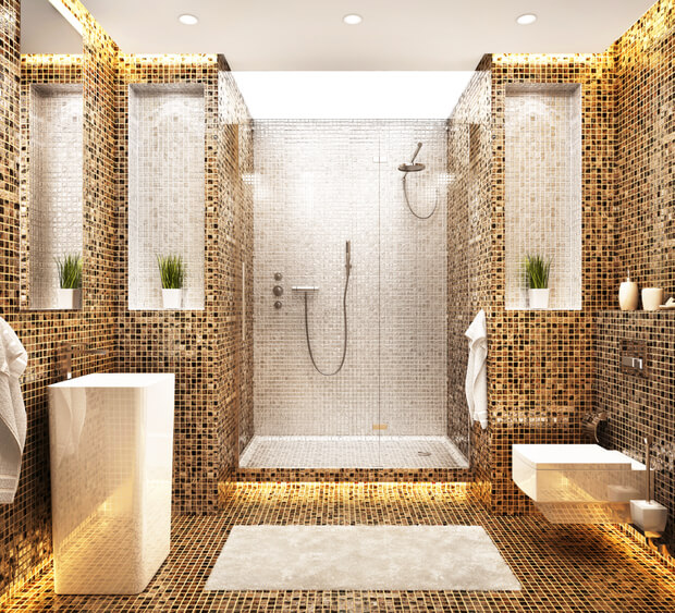 Modern beautiful bathroom design. White and brown mosaic