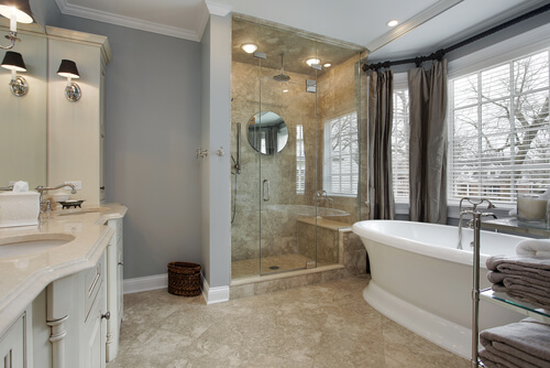 Master bat in luxury home with glass shower