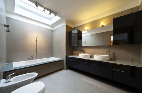 beautiful apartment, interior, bathroom. soft bathroom lighting with sun shining through