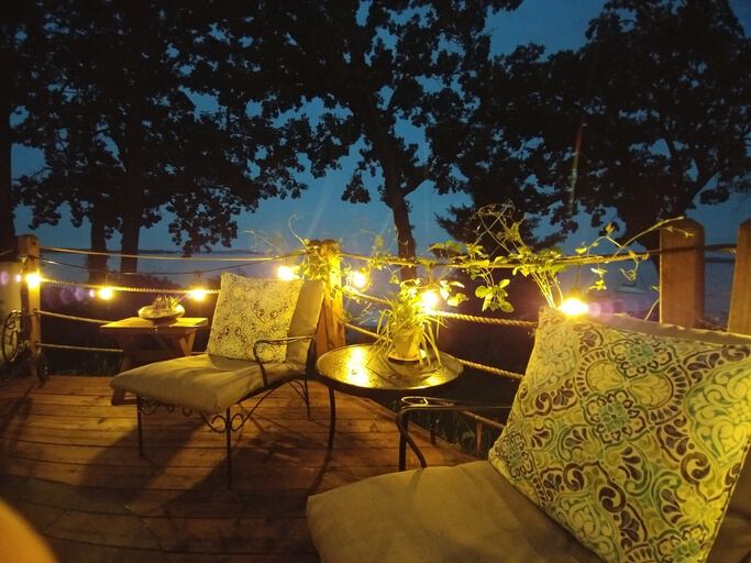 Outdoor Patio Furniture Party Deck Space String Lights at Night