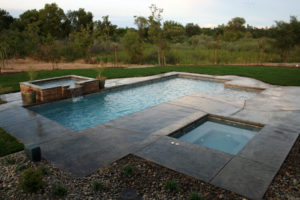 Pool and Spa with a decorative spillover surrounded by beautiful landscaping