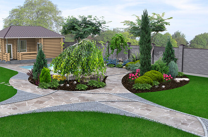 Charming vintage style highlight into the yard landscaping and green design features three-dimensional illustration.