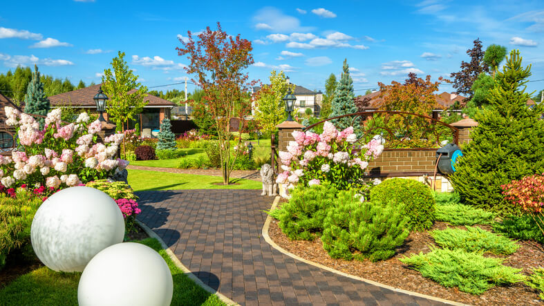 Moscow Region - Aug 24, 2019: Landscape design at residential house. Beautiful landscaping in home garden. Panoramic view of nice landscape garden in backyard. Scenery of landscaped place in summer.