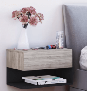This floating, wall-mounted bedside table is a modern choice for a contemporary bedroom. It has a solid construction and includes a single drawer plus an open shelf. Its upper surface has plenty of space for a lamp, alarm clock and a glass of water. Assembly is required.
