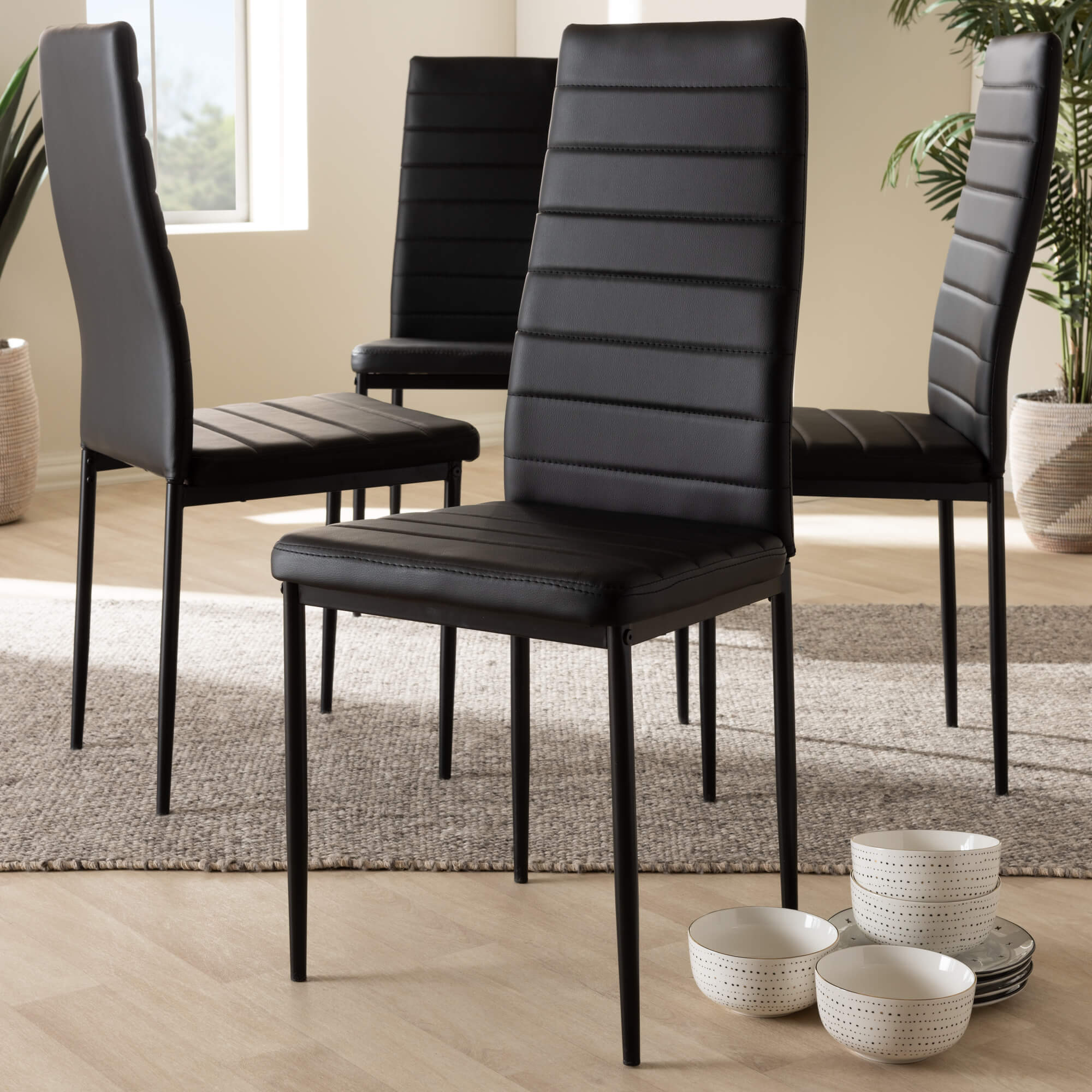 Set of 4 Baxton Studio Armand Modern and Contemporary Black Faux Leather Upholstered Dining Chairs