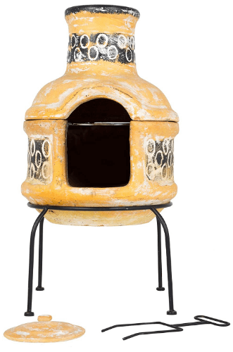 La Hacienda Circles 2 Piece Clay Chimenea with Cooking Grill, Small-Yellow & Brown