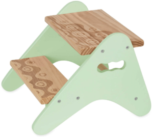 This is an image of a green and brown Kids Wooden Two Step Stool by B. spaces by Battat
