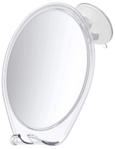 This is an image of a white HoneyBull Fogless Shower Mirror with Suction, Razor Holder & Swivel