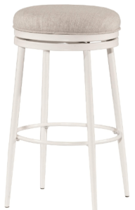 This is an image of a set of a white Hillsdale Aubrie Swivel Backless Counter Height Stool