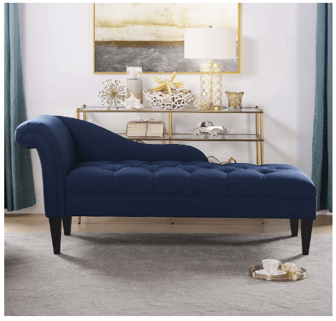 This is an image of a Blue Jennifer Taylor Harrison Chaise Lounge sofa with wooden legs