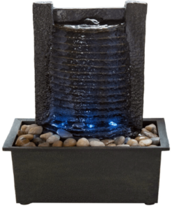 This is an image of an Indoor Water Fountain With LED Lights and stone wall by Pure Garden