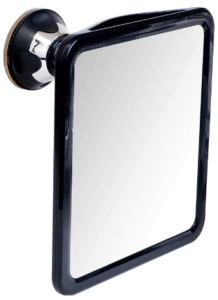 This is an image of a black the Mirrorvana 2019 Fogless Shower Mirror for Shaving with Upgraded Suction