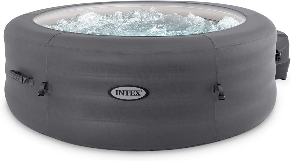 Intex 28481E Simple Spa 77in x 26in 4-Person Outdoor Portable Inflatable Round Heated Hot Tub Spa